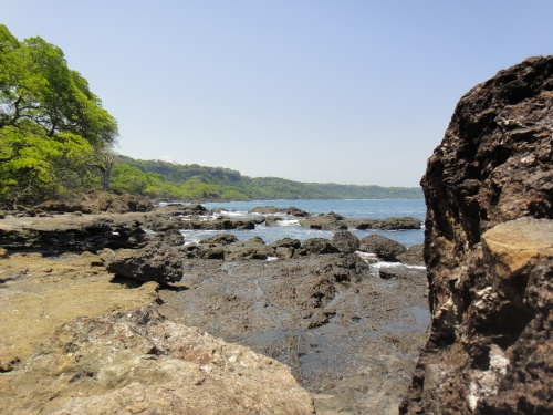 Walking and climbing the rocky Costa Rican shoreline gives your legs a great workout! Photo by Sue Shekut.