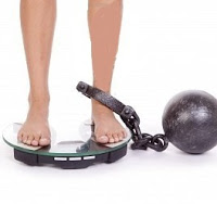 8102631-a-woman-has-a-ball-and-chain-on-her-leg-and-standing-on-the-scales